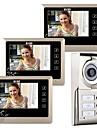 """7 """"LCD tactile Key Téléphone visuel de porte Sonnette Accueil Portier pour 3 familles"""