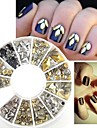 200Pcs Nail art Golden Blandad Rivet Former akryl STRASS