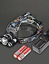 Huvudlampor LED 4.0 Läge 4000 Lumen Laddningsbar / Strike Bezel Cree XM-L T6 18650 Camping/Vandring/Grottkrypning / Resa-Rektangulär,Svart