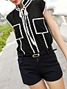 Femei Alb Negru Îmbinare Pocket șifon T-Shirt
