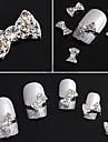 20PCS 3D Rhinestone Studded Silver Nail Art Dekorationer