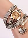 c & d mode kvinnor klär klockor hjärtformad diamant hänge läder rem klockor xk-73