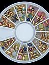 100st färgstarka pärla metall kantlist hjul nagel konst dekoration