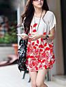 sw kvinnors korean lös fladdermus ärm blomma långt t-shirt