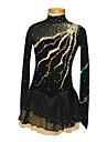 Robe de Patinage Femme Fille Manches longues Patinage Jupes & Robes Robe de patinage artistique Spandex Noir Tenue de PatinageUtilisation