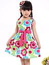 Girl's Fashion Floral Print Belt Cotton Party Casual Princess Dresses