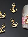 Forme 10pcs 9 * ancre de bateau 6mm métal doré nail art décorations