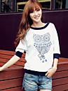 sw kvinnors print rund krage 1/2 längd ärm t-shirt