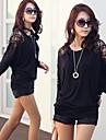 sw kvinnors koreanska våren och sommaren nya produkter fladdermus långärmad spets gemensam t-shirt (random spetsar)