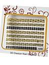 Or et noir Nail Art Stickers 3D mixte métal Nails Décoration