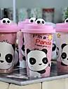 söt panda keramikmugg kopp med lock slumpmässigt mönster, 9.3x6x14.5cm