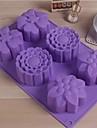6 gitter 3 olika blommor styling tårta dessert tvål mögel, silikon 28 × 17,3 × 3,5 cm (11 × 6,8 × 1,4 tum)