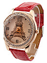 mulan PU cuir femmes habillent la montre avec strass-5 (rouge)