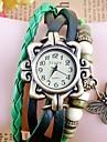 Timi Kvinnors vintage fjäril hänge Style PU Leather Analog Bracelet Watch-w1216