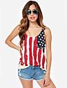 Shirts SouthStore V Neck Maieuri șifon despicare Flag T (Cream)
