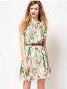 european pentru călatorii de imprimare floral cu rochia curea