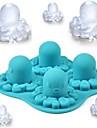 """Tecknad Octopus Pattern Ice Mould Silikon Ice Cubes (Random Color), Silikon 5.2 """"X5.2"""" x1.56 """""""