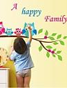 Createforlife ® Cartoon Owls Happy Family Kids Nursery Room Wall Sticker Wall Art dekaler