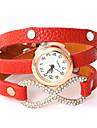 vågar u kvinnors pu analog kvarts diamonded armband klocka