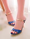chaussures pour femmes sandales à talon aiguille en cuir verni à bout ouvert plus de couleurs disponibles