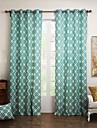 (Två paneler föring topp) regetta cyan romb bomullscanvas gardin paneler