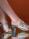 Mousseux Chunky talon Mules basique Glitter femmes avec strass chaussures (plus de couleurs)