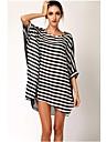 negru elegant pentru femei&dungă albă de prevenire soare cover-up