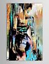 HANDMÅLAD Människor Vertikal,Moderna En panel Hang målad oljemålning For Hem-dekoration