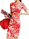 CoCo Zhang femei New Style Floral Print Bateau maneca scurta Rochie