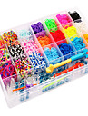 curcubeu război de țesut colorate de dimensiuni mari 28 de celule banda de cauciuc multicolore (4200 buc) și conector