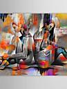 HANDMÅLAD Människor Horisontell,Moderna En panel Kanvas Hang målad oljemålning For Hem-dekoration