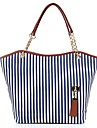 Barberni Chain Canvas Stripes Single Shoulder Bag (Blå)