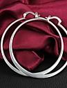 Tur Doll Kvinnors Silver Simple Big Circle Silver Örhängen