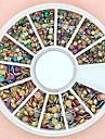 1200st blandad storlek 3d runda färgglada dubbar legering hjul nagel konst dekoration