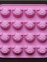 16 håls gris form choklad formar kakform, silikon 17,5 × 17,5 × 1,5 cm (6,9 × 6,9 × 0,6 tum)