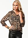 Vancoog Kvinnors Sexy Leopard Print Loose Sexy Single-Breasted Chiffon Blouse