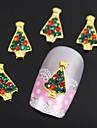 10st gyllene julgranar 3d legering strass nail art dekoration