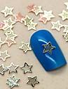 200pcs de punk forme d'étoile creuse métal doré tranche nail art décoration