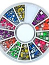 600st mix färg fyrkantiga och runda formen neon metallreglar sätta nagel konst dekoration