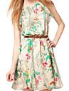 Femei Maieuri șifon Vintage Flower Print Dress