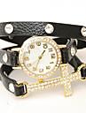 vågar u kvinnors diamonded insvept kedja klocka