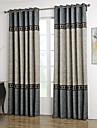 Två paneler Nyklassisistisk Solid Blå / Grå Living Room Polyester gardiner draperier