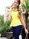 Women's Lace Peplum Frill Bodycon Casual Tank T-Shirt