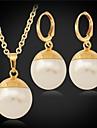 U7 nya nya kvinnor högkvalitativa stora syntetiska pärlor pärla hängande örhängen set 18k äkta guld pläterad 18mm 55cm