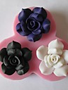 tre blommor bakar fondant tårta choklad godis mögel, l10.5cm * w10cm * h1.9cm