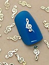200st musikalen noterar designen gyllene metall skiva nail art dekoration