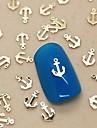 200pcs ancre de bateau en métal doré décoration art tranche de l'ongle