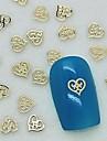 200pcs design unique coeur creux en métal doré décoration art tranche de l'ongle
