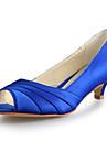 Homme-Mariage-Noir / Bleu / Rose / Violet / Rouge / Blanc / Argent / Or / Champagne / Beige-Kitten Heel-Bout OuvertSatin