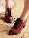 Pantofi pentru femei - Imitație Piele - Toc Gros - Vârf Rotund - Oxford - Rochie - Burgundia
